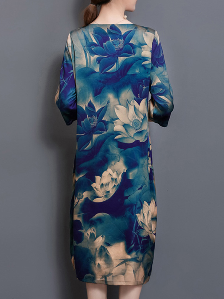 Chinese Style Floral Print Pocket Dress