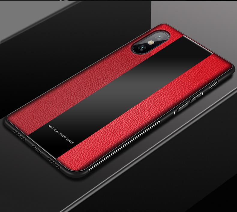 Bakeey Luxury Shockproof Soft Silicone PU Leather Tempered Glass Protective Case For Xiaomi Mi8 Pro / Xiaomi Mi8 Explorer Edition