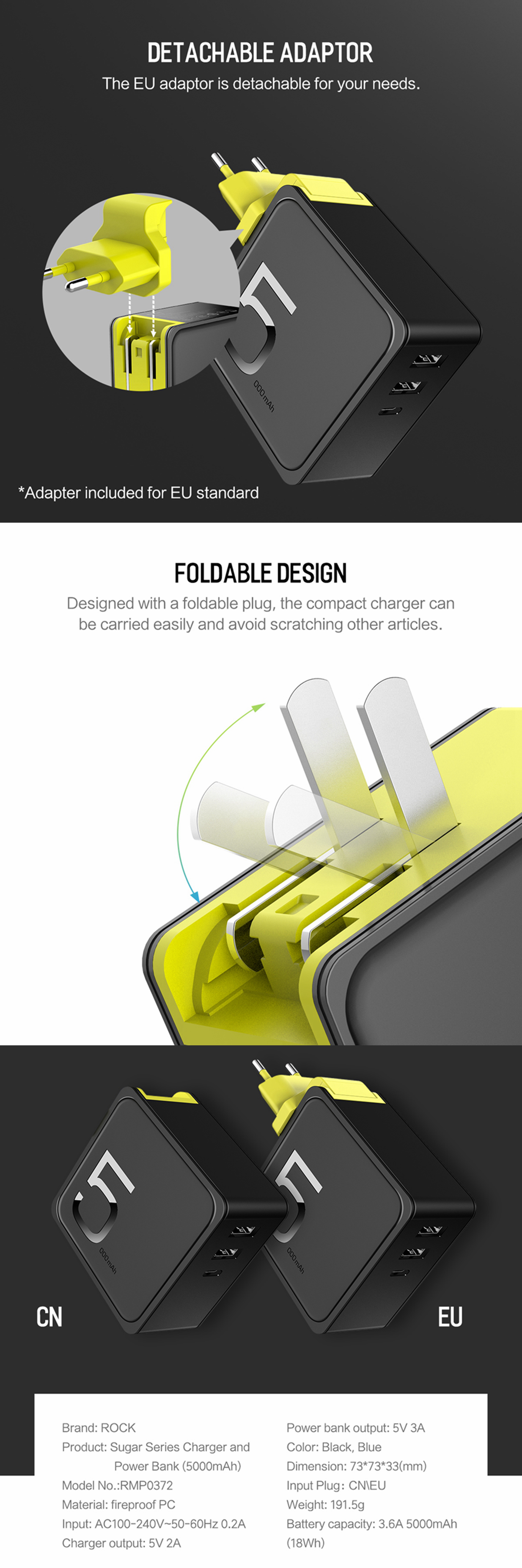 ROCK 5000mAh 2 in 1 Portable Power Bank 3 Port Type C Fast USB Charger EU US For Smart Phone Macbook