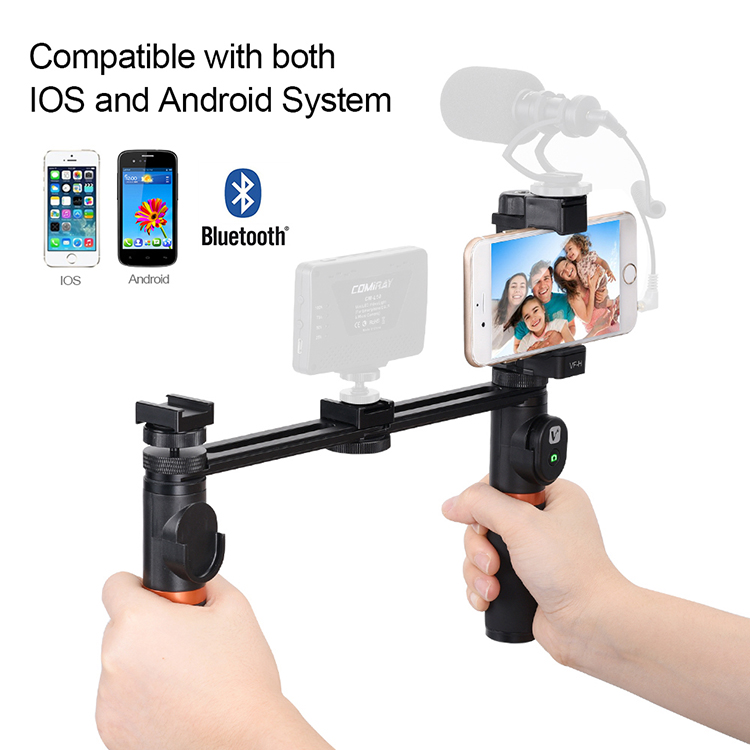 VIEWFLEX VF-H5 Bluetooth Electronic Video Grip Stabilizer with Smartphone Clamp Remote Control 2 x Handle  2 x Connecting Rod for iPhone for Samsung for Huawei Smartphones