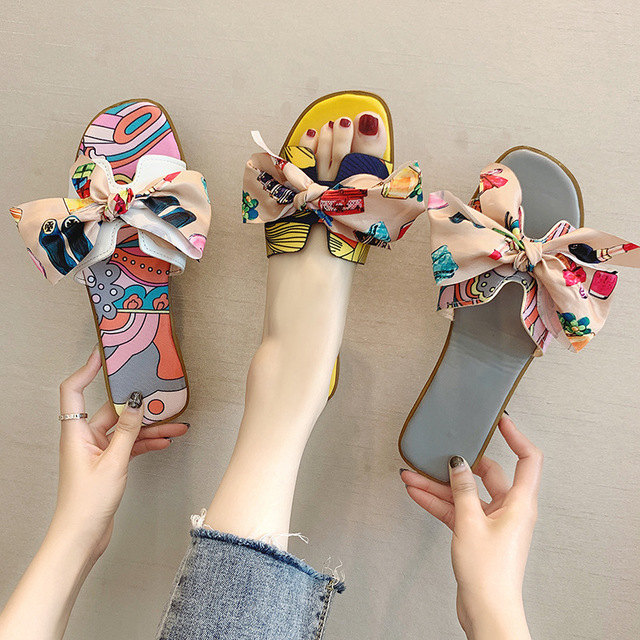 Net Red Women's Slippers Season New Floral Bow Flat Female Slippers Fashion Beach Sandals And Slippers (Eachine1) Tacoma goods things