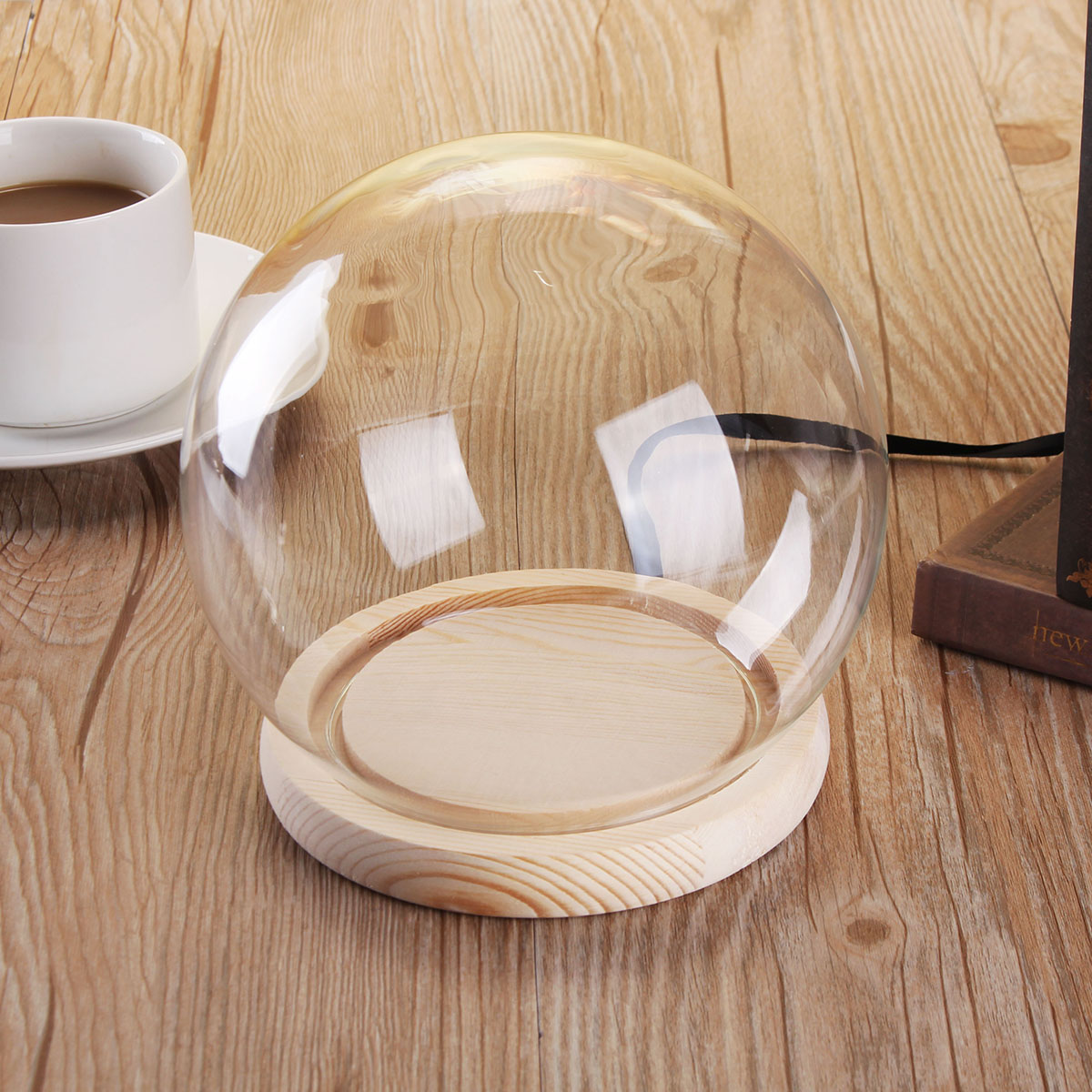 12cm Glass Dome Ball Cloche Globe Bell Jar Tealight Flower Cover Stand Display Room Decorations