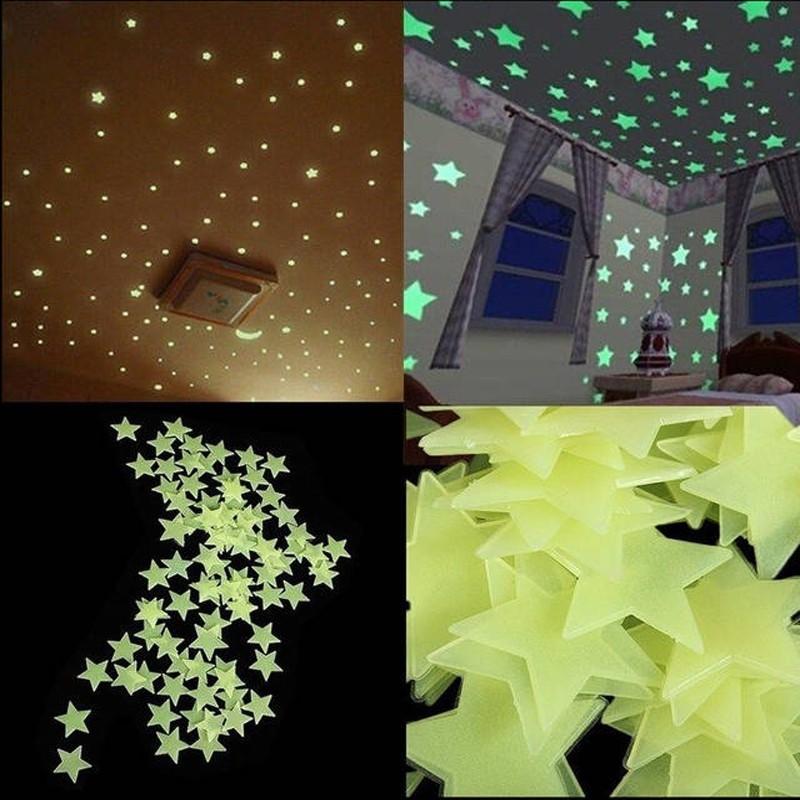 100pcs 3D Stars Glow In Dark Luminous Tape Fluorescent Plastic Wall Sticker Wall Decal Decorations