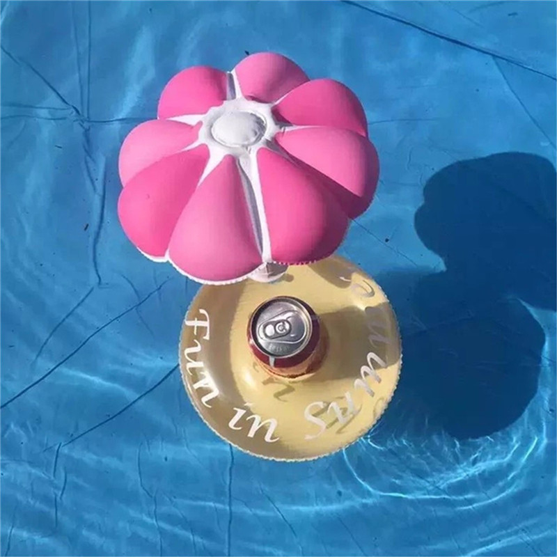 Inflatable Drink Can Holder Floating Umbrella Shape Beer Cup Can Holder Pool Bath Beach Party Decor