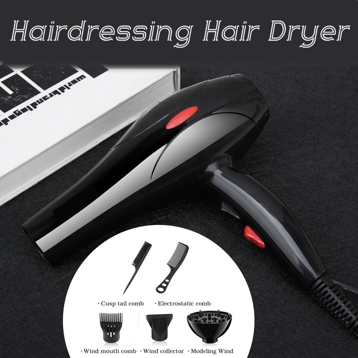 220V 50Hz 2200W Hair Dryer Black Dust and Noise Reduction Inlet Design