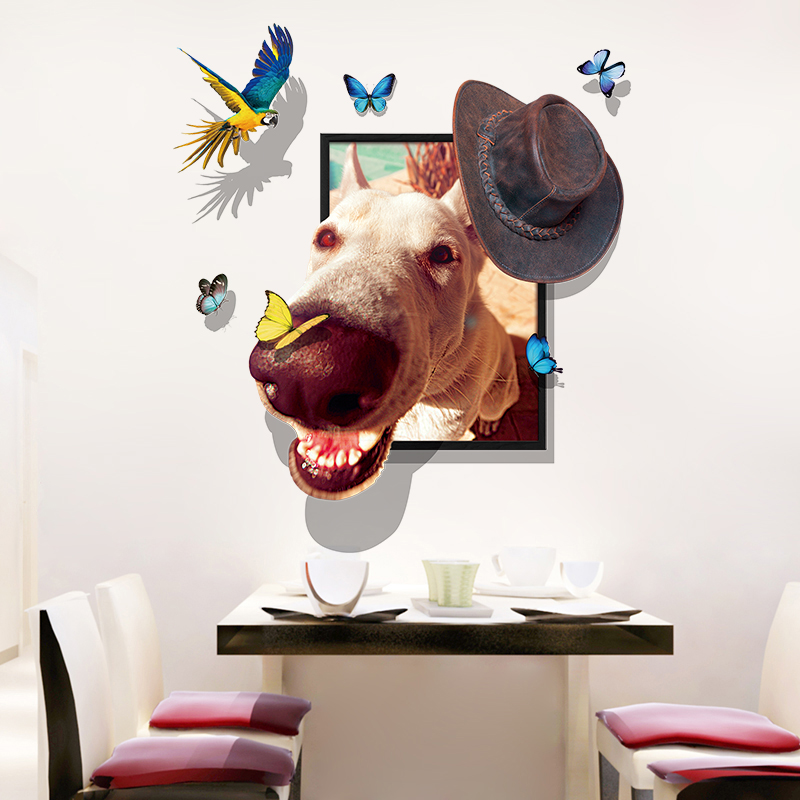 Miico Creative 3D Dog Wear Cap Bird Butterfly Frame PVC Removable Home Room Decorative Wall Floor Decor Sticker