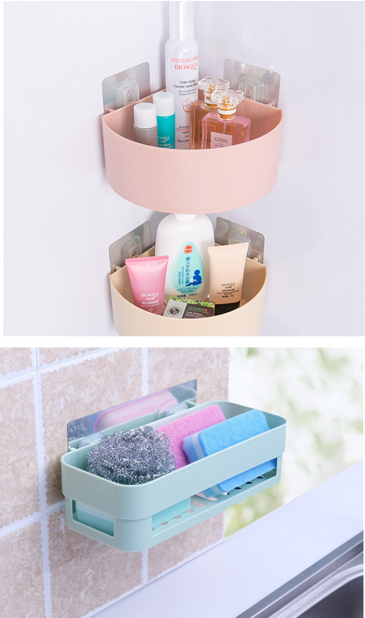Honana BX-825 Bathroom Wall Corner Shelf Magical Sticky Rack Storage Baskets Holder Box Stand