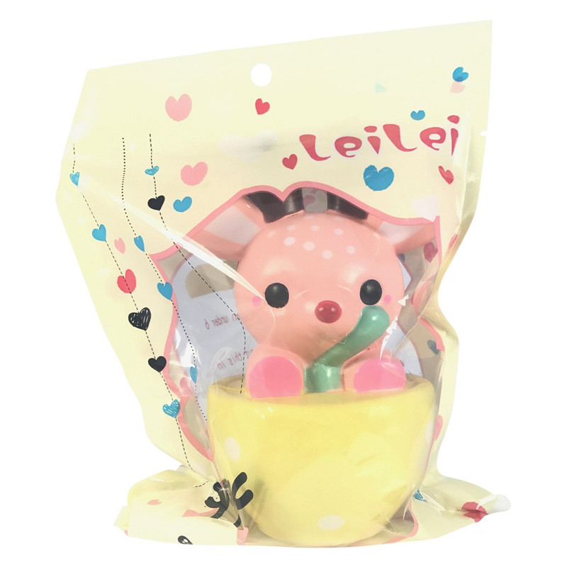LeiLei Squishy Jumbo Teacup Deer Christmas Elk 14cm Slow Rising Original Packaging Gift Collection Decor Toy