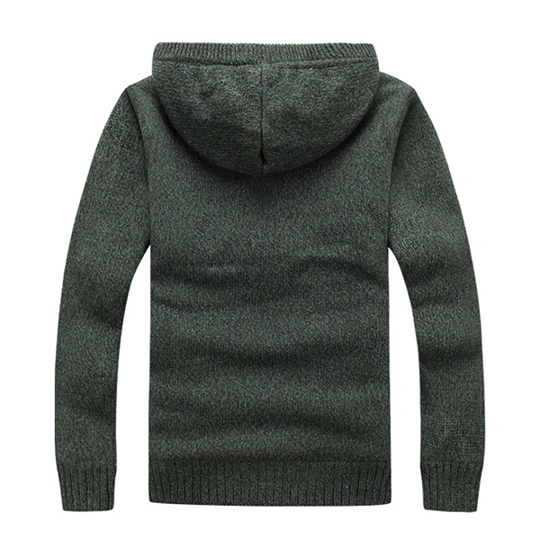 Men's Knitted Polar Fleece Hooded Sweaters