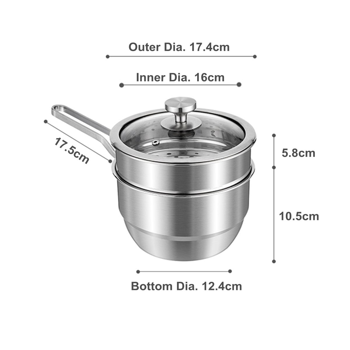 2 Tier 304 Stainless Steel Steamer Milk Pan Soup Pot Boiler Induction Universal Cookware