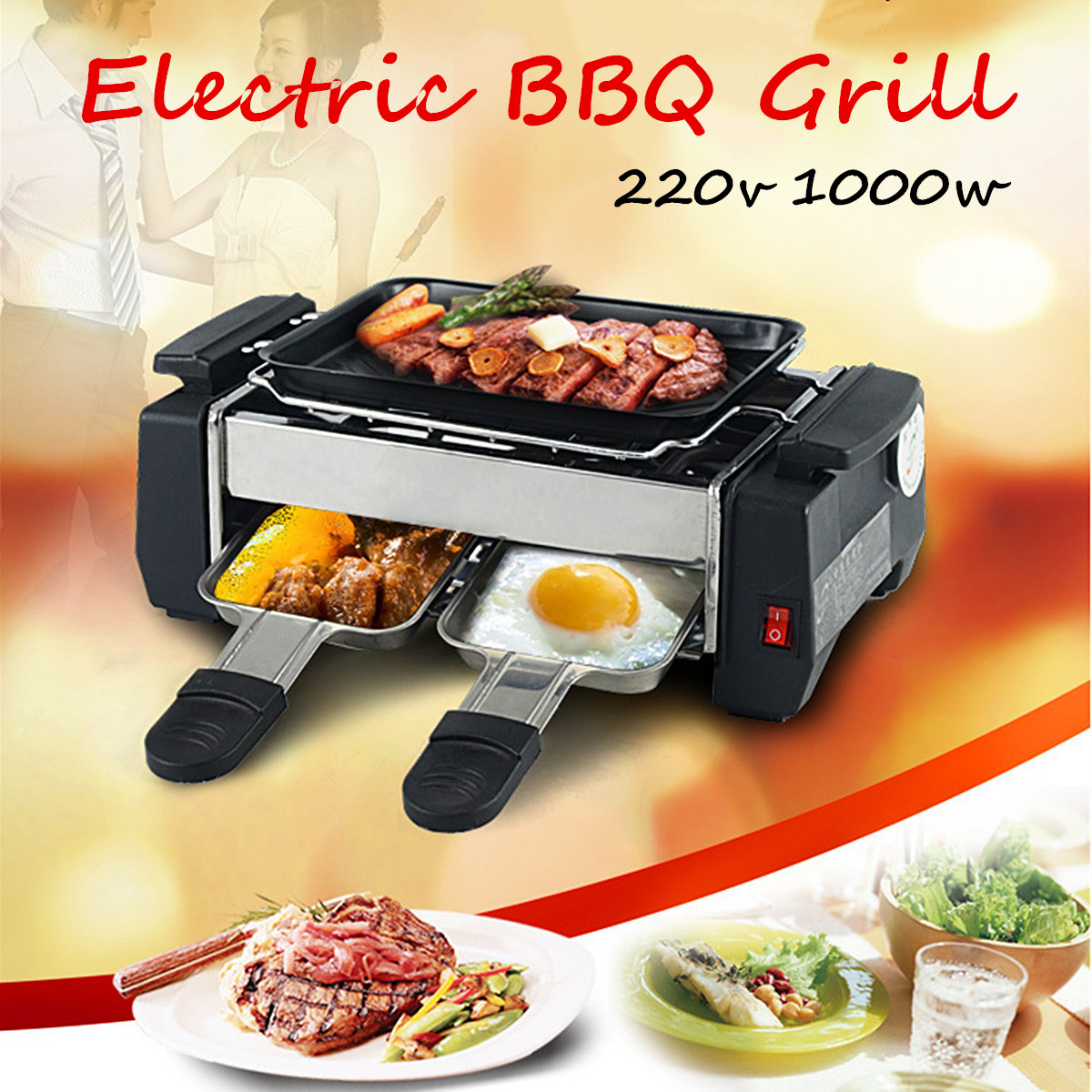 Portable 1000W 220V Non-Stick Electric Barbeque Grill Griddle BBQ Teppanyaki Set BBQ Grill
