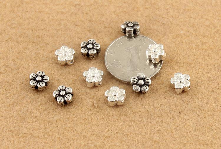 S925 Sterling Silver Flower Vintage Spacer Beads Bracelet Necklace DIY Accessories