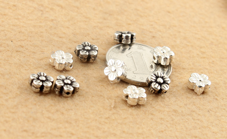S925 Sterling Silver Flower Vintage Spacer Beads Bracelet Necklace DIY Accessories