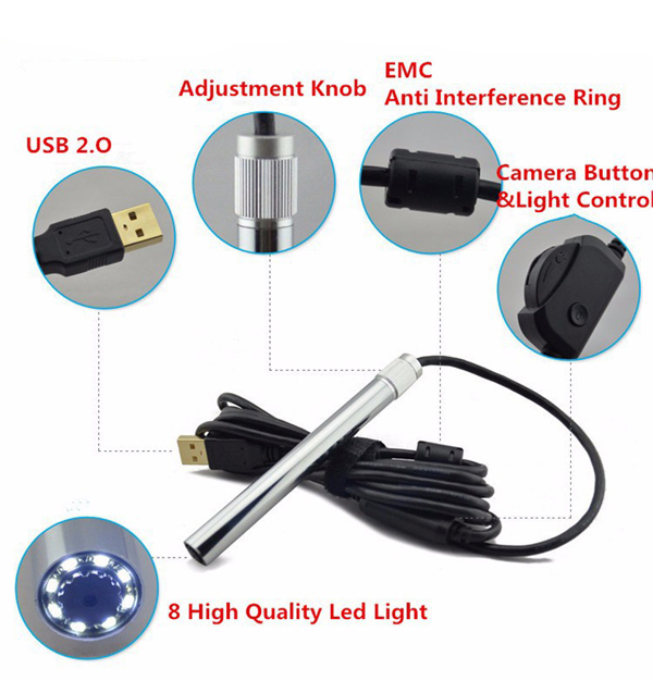 Andonstar 500X 8LED HD Real 2MP USB Digital Microscope Magnifier Metal Stand Base Pen Endoscope