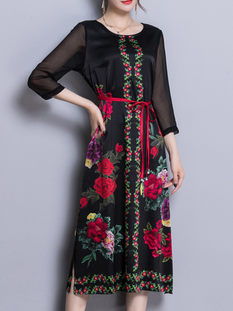Satin Floral Print O-neck Elegant Side Slipt Dress