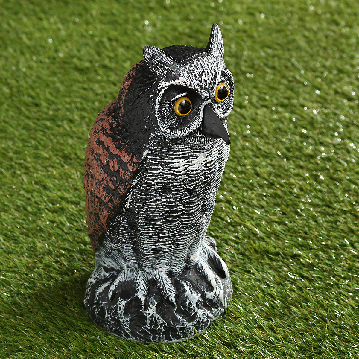Fake Standing Owl Bird Model Toys Hunting Shooting Decoy Deterrent Home Garden Decorations