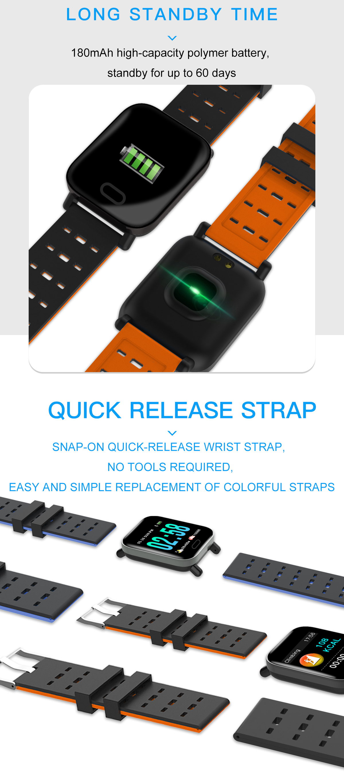 Bakeey M20 1.3' Big Screen Real Time HR Blood Oxygen Pressure Monitor Long Standby Sport Smart Watch 27