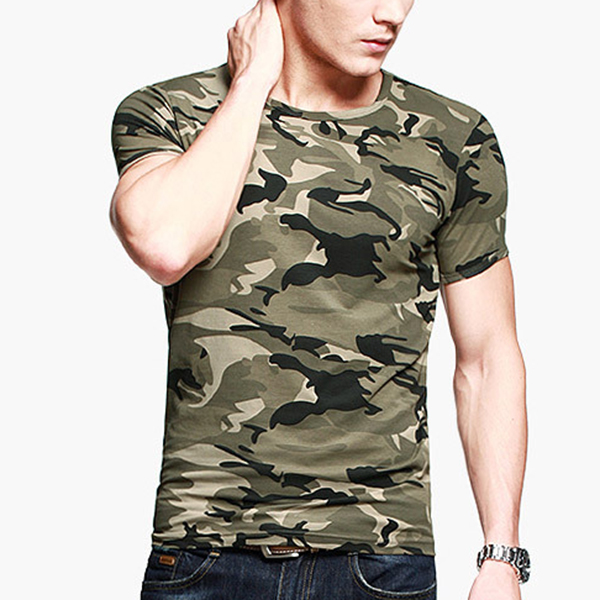 Summer Men 's Military Camouflage Short-sleeved T-shirt Cotton Round Neck Outdoor Sport Shirts