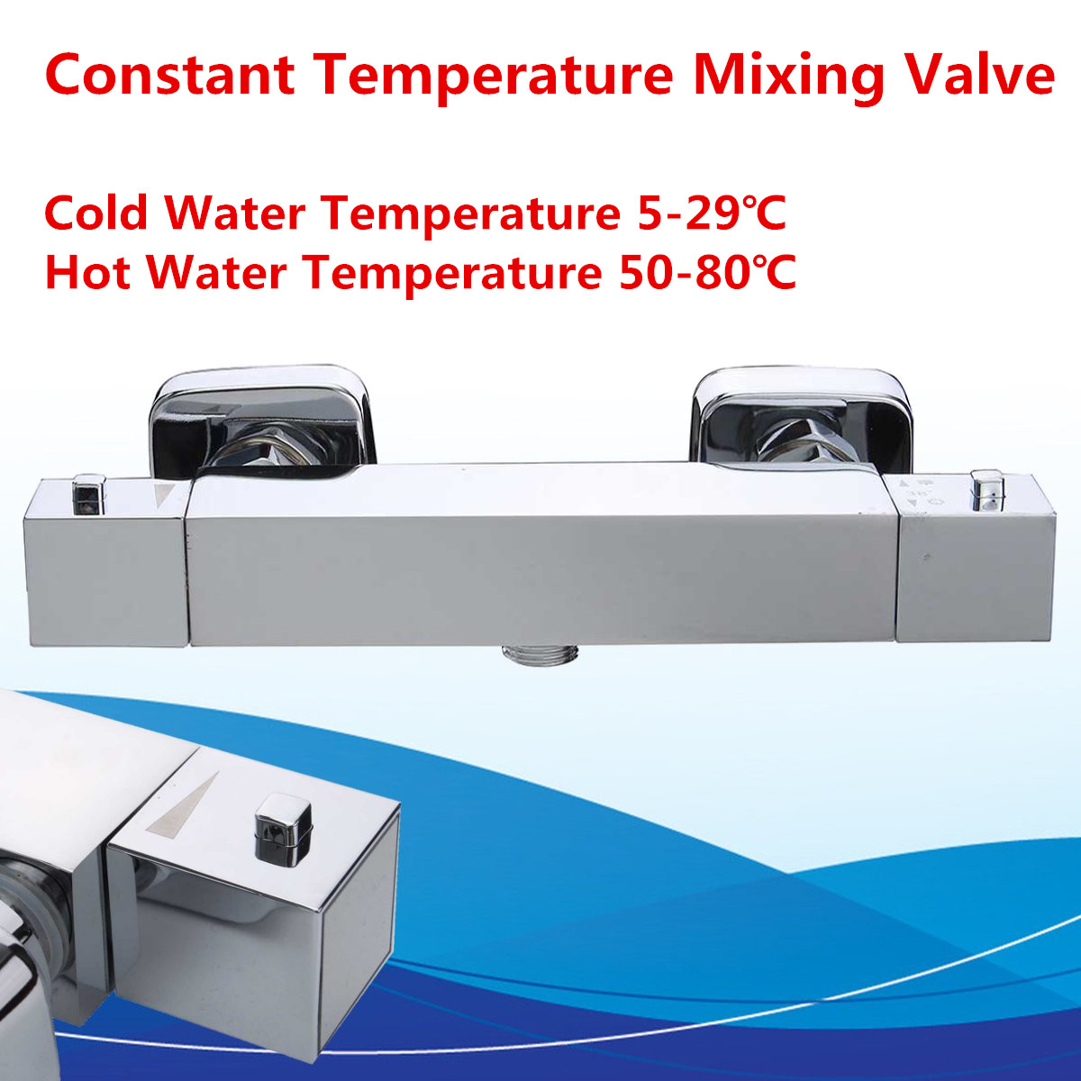 Constant Temperature Mixing Thermostat Valve Water Heater Silver 20-50°C