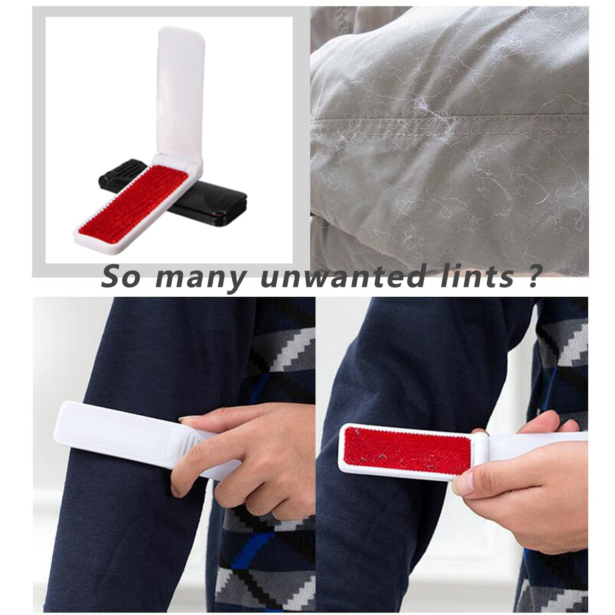 Foldable Clothes Brush Lint Dust Remover Portable Fabric Pet Hair Fluff Clothes Cleaner