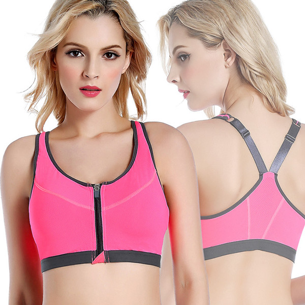 Professional Shakeproof Front Zipper Breathable Sports Bra