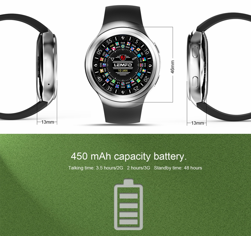 LEMFO LES2 Android 5.1 Smart Watch Heart Rate Monitor Google Map Watch Phone for Android IOS