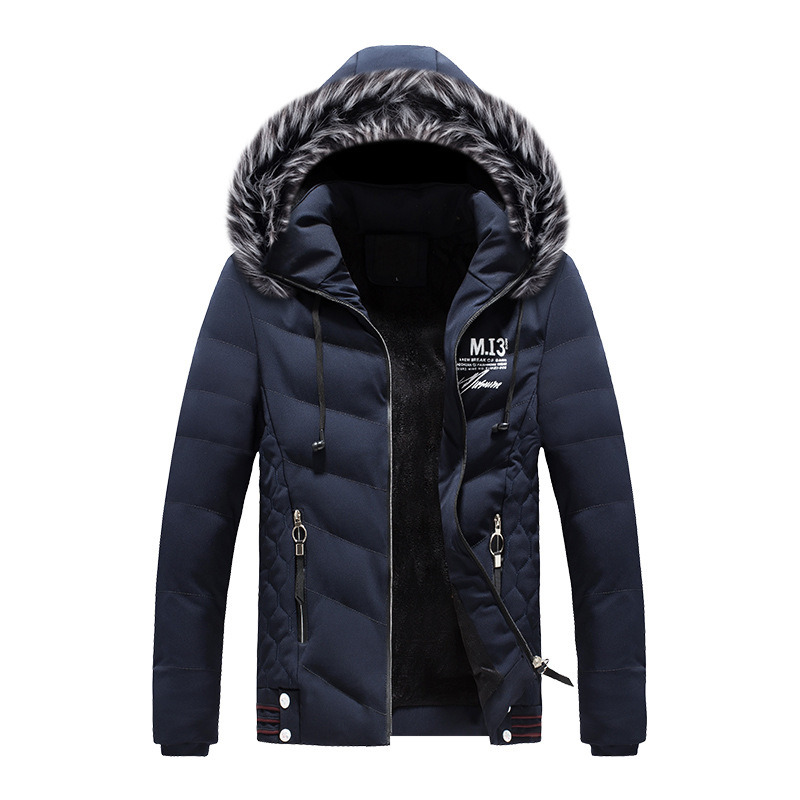 Mens Hooded Down Cotton Padded Jacket Winter Short Parka