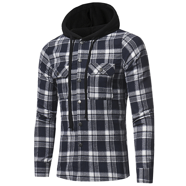 Plaid Shirt Jacket Chest Pocket Single Breasted Hooded Coat