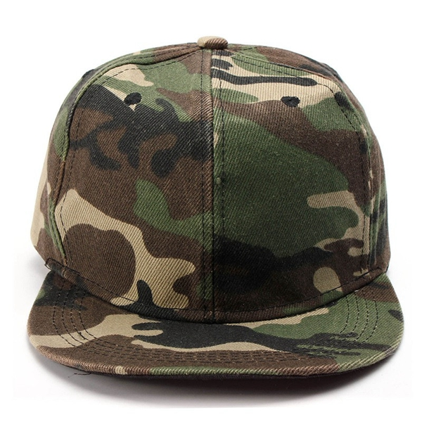Unisex Camo Canvas Green Gray Camouflage Baseball Cap Adjustable Hip-hop Hat Flat Snapback