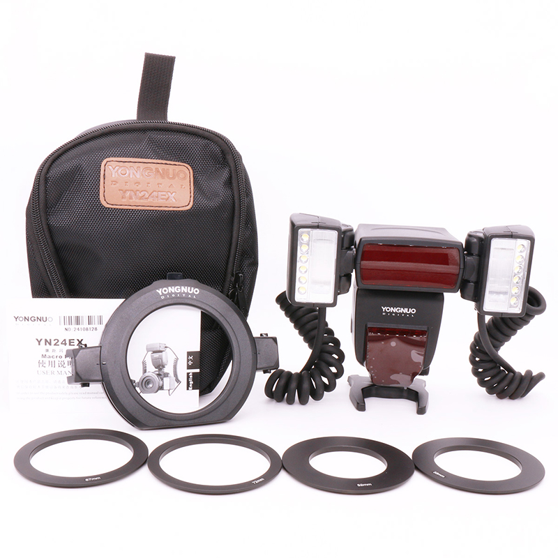 Yongnuo YN24EX E TTL Macro Flash Speedlite for Canon with 2pcs Flash Head and 4pcs Adapter Rings