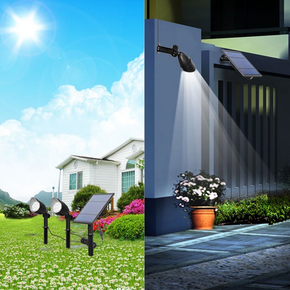 5W 2 in 1 Solar Powered LED Light-controlled Lawn Lights Outdoor Waterproof Yard Wall Landscape Lamps