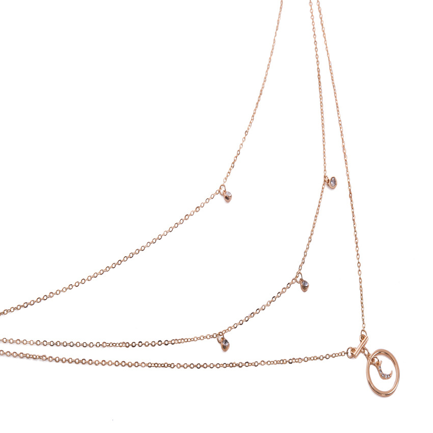 Bohemian Multilayer Chain Necklace Moon Geometric Rhinestone