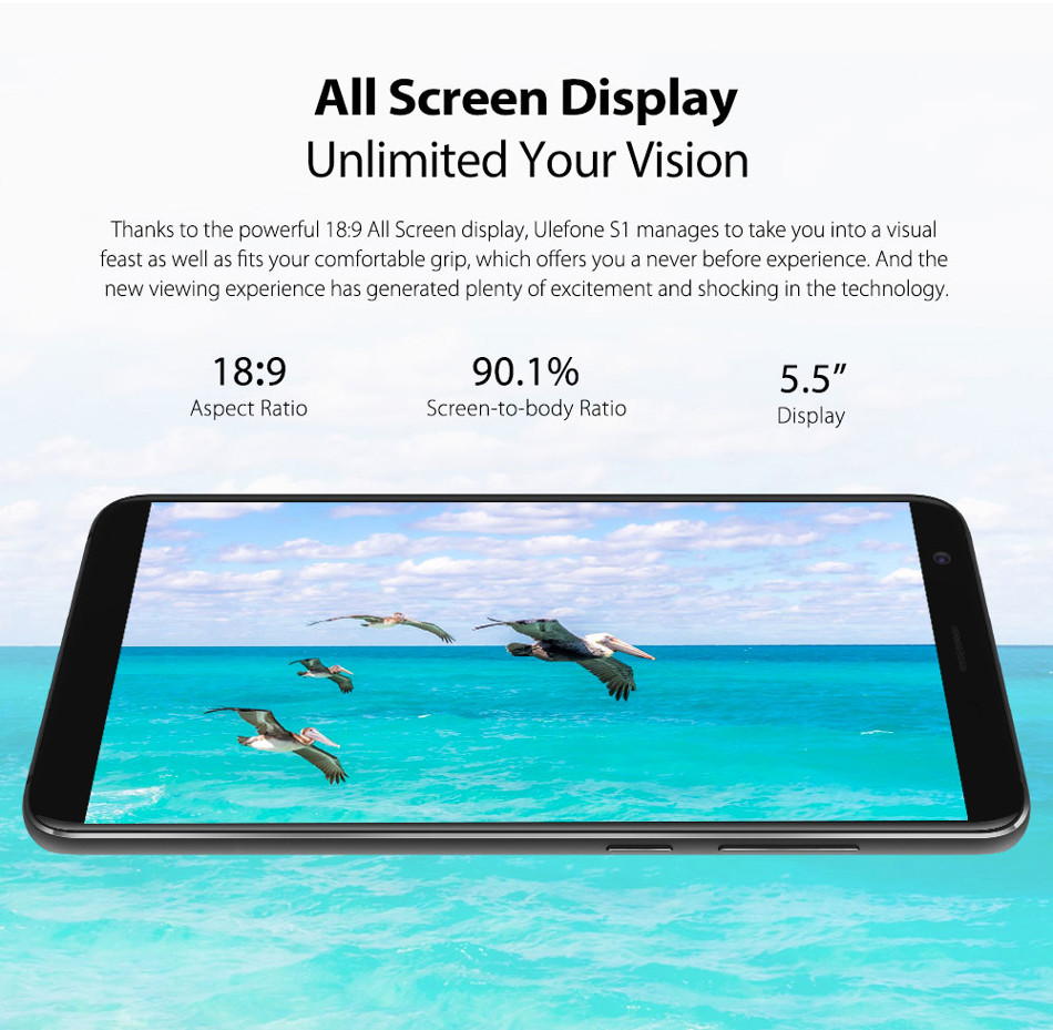 Ulefone S1 Dual Rear Camera 5.5 inch 1GB RAM 8GB ROM MT6580 Quad core 3G Smartphone