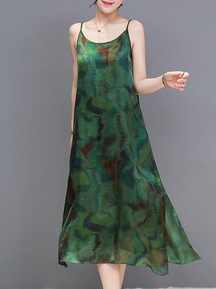 S-3XL Women Floral Print Sleeveless Spaghetti Maxi Dress