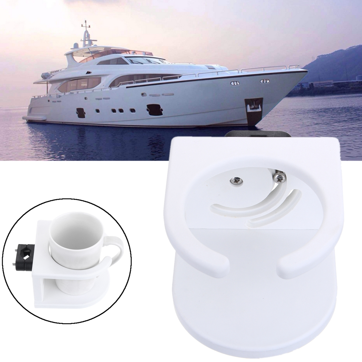 Rail Mount Rotatable Marine Boat Car Cup Drink Can Water Bottle Holder