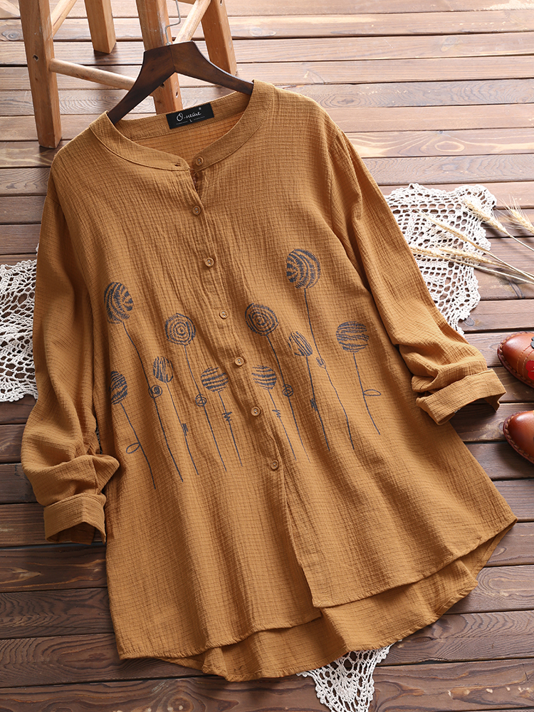 Women Casual Button Printed Blouse