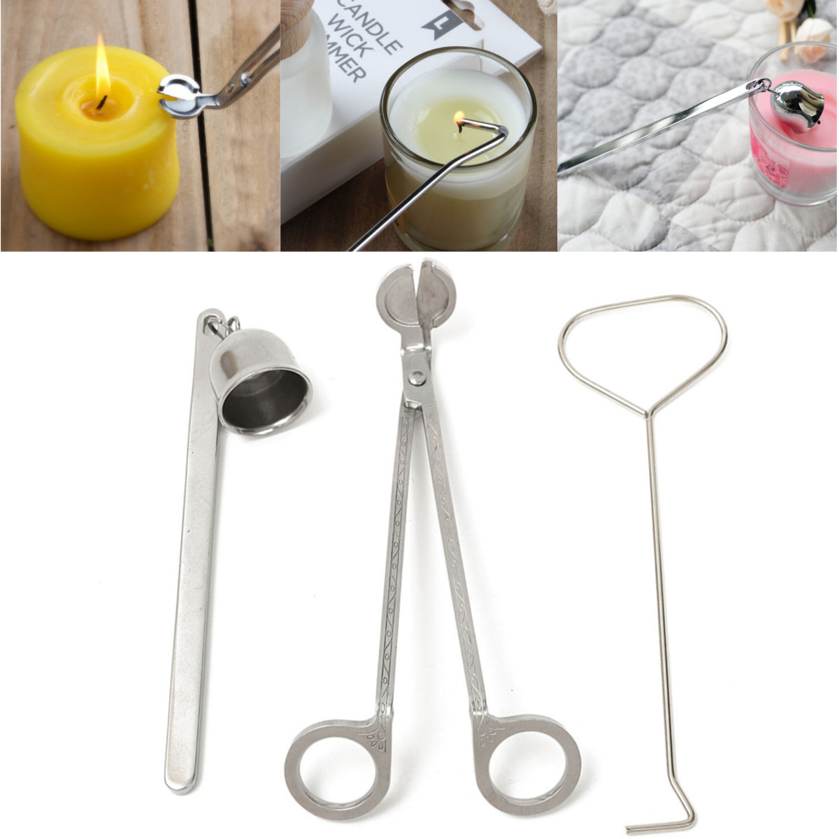 3Pcs Put Out Candle Tool Stainless Steel Scissors Candle Flame Wick Bell Scissors Dipper Snuffer
