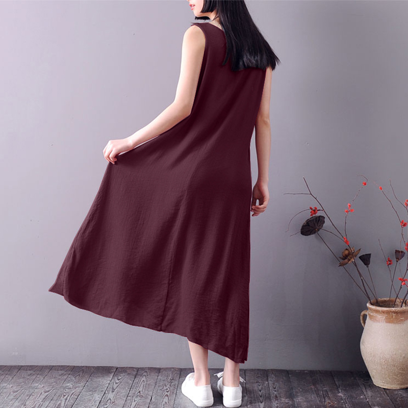 Women Vintage Sleeveless Asymmetric Long Maxi Tank Dress