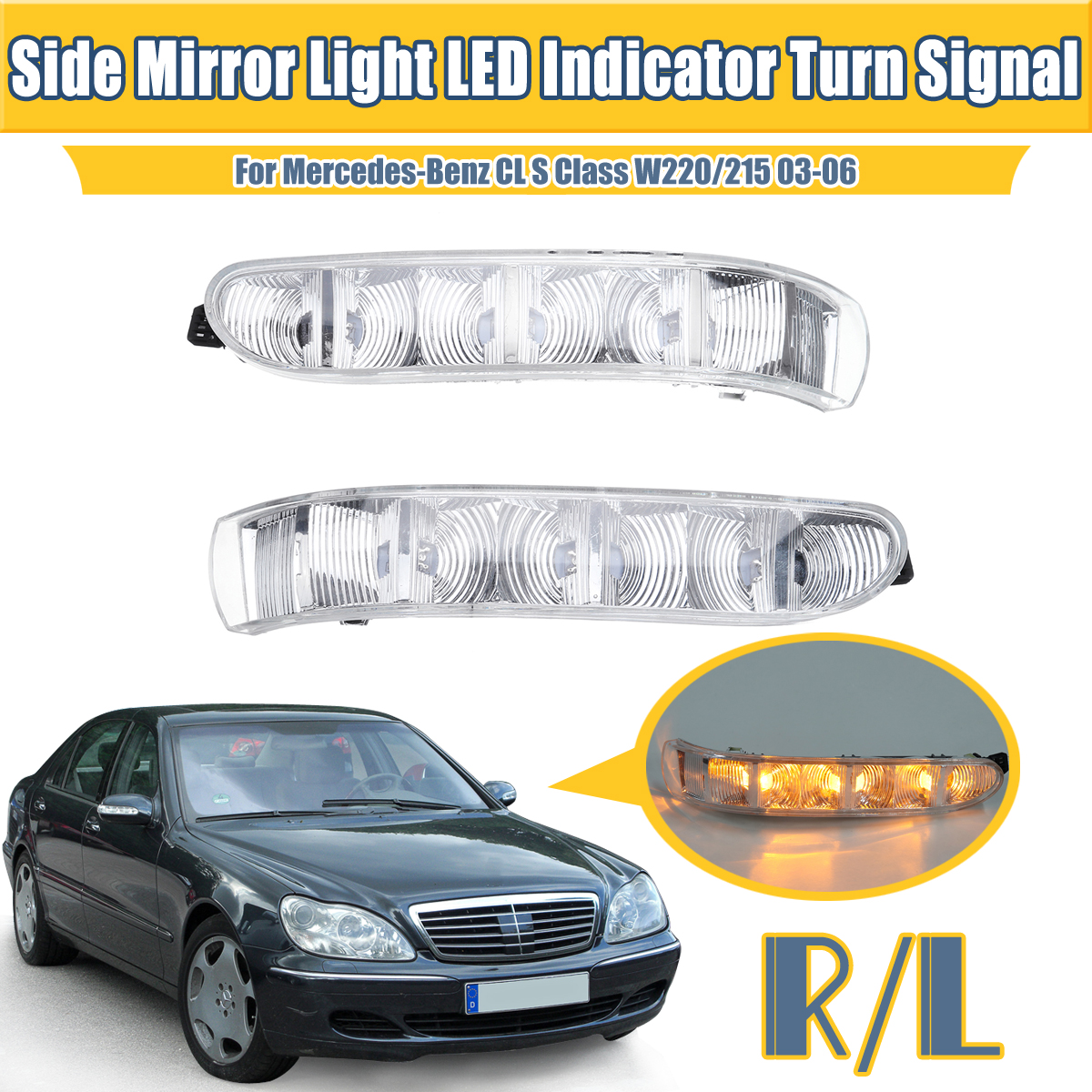 Car LED Door Side Mirror Lamp Turn Signal Lights for Mercedes-Benz CL S Class W220/215 2003-2006