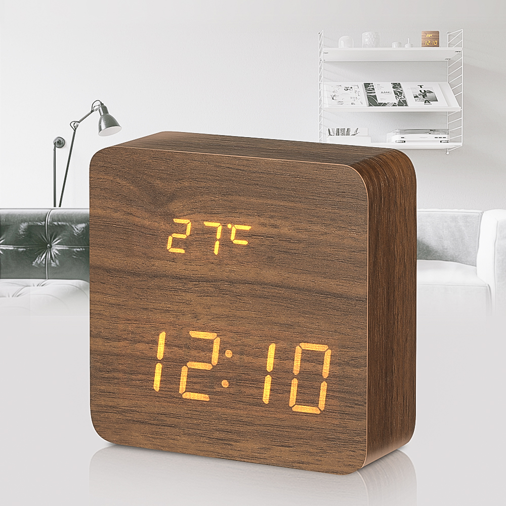 [2019 Third Digoo Carnival] Digoo DG-AC1 Wooden LED Digital Alarm Clock Multifunctional 2 Mode Display Time Thermometer Voice Control Desk Clock