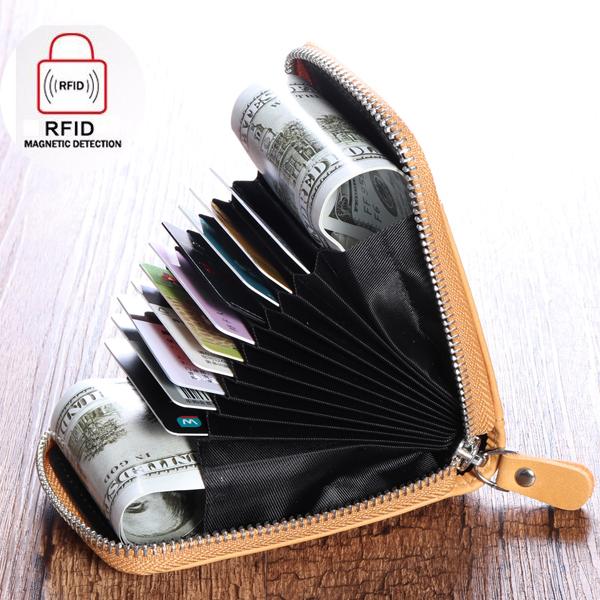 RFID Blocking Wallet Men Women Cow Leather 12 Card Slots Card Holder Wallet