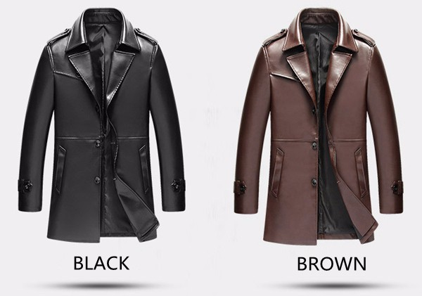 Mens Stylish Gentlemanlike Single-breasted PU Leather Long Fashion Jacket Trench Coat