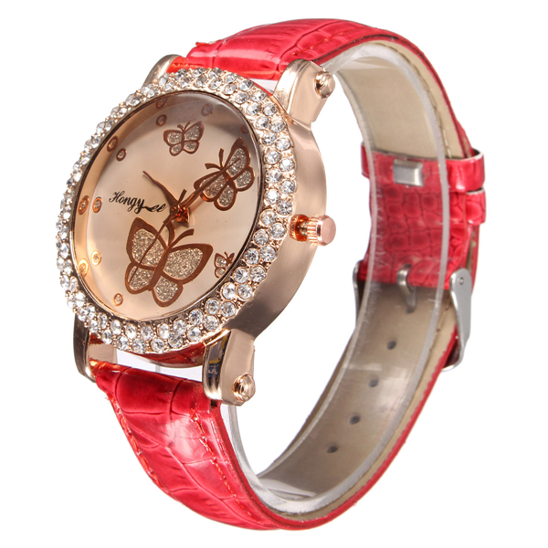 Womens Lovely Butterfly Crystal PU Leather Strap Quartz Watch