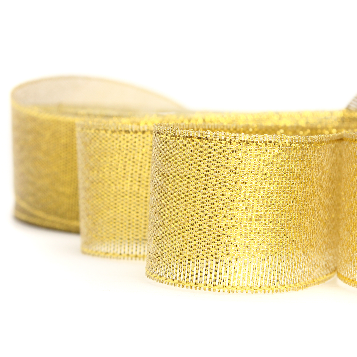 12mm 25 Yards Wire Edge Gold Silver glitter Effect Ribbon Wedding Party Gift Packing Accessories