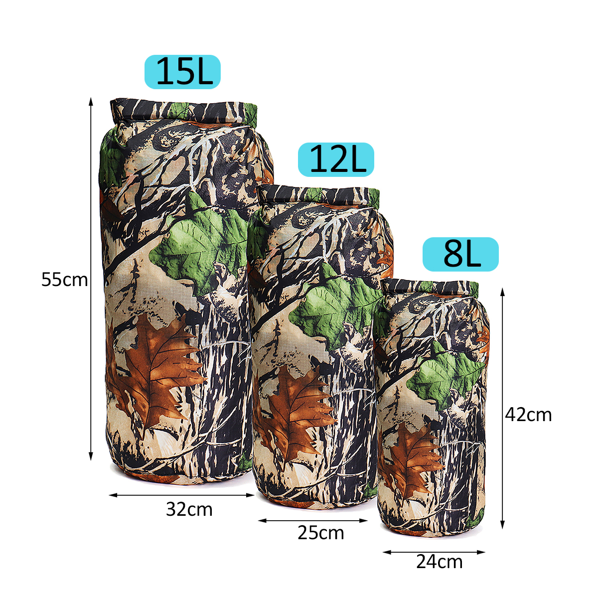 8L+12L+15L Outdoor Waterproof Dry Bag Set Camping Hiking Pouch For Floating Boating Kayaking