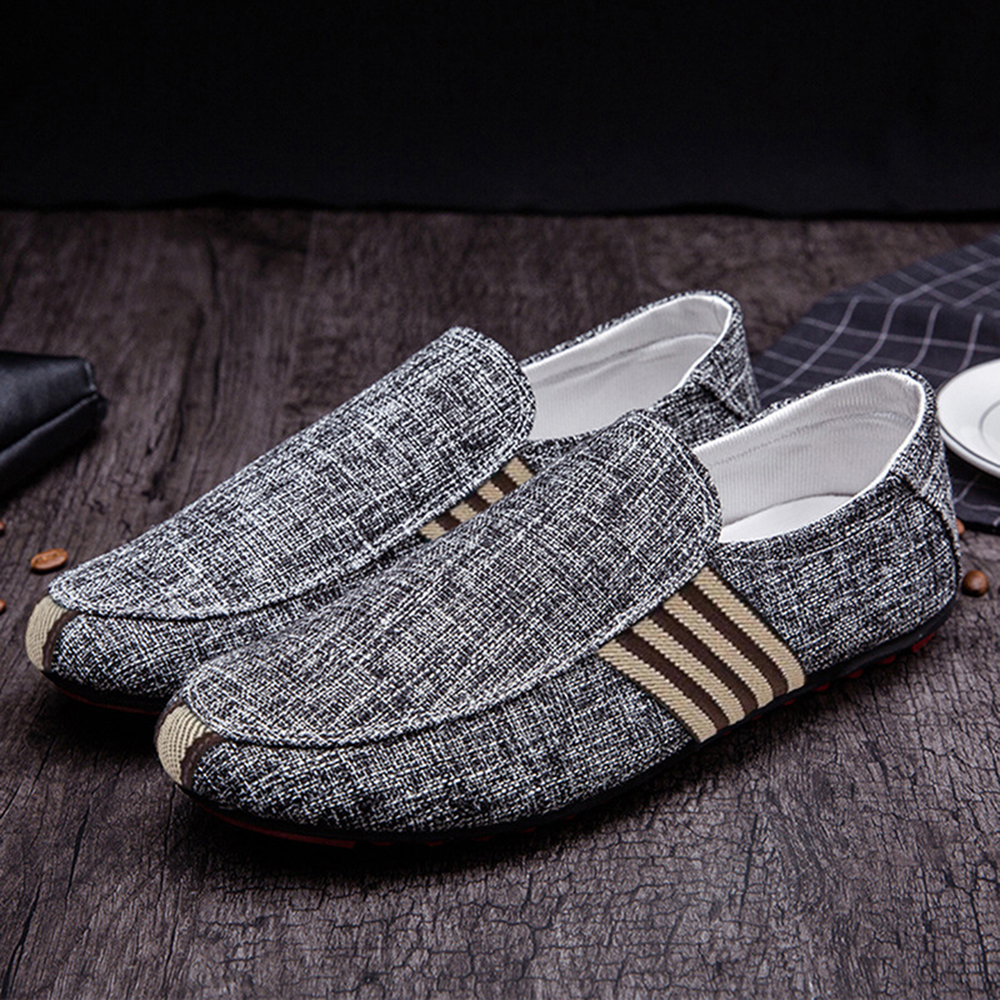 Men Comfy Casual Canvas Loafers Slip On Driving Shoes