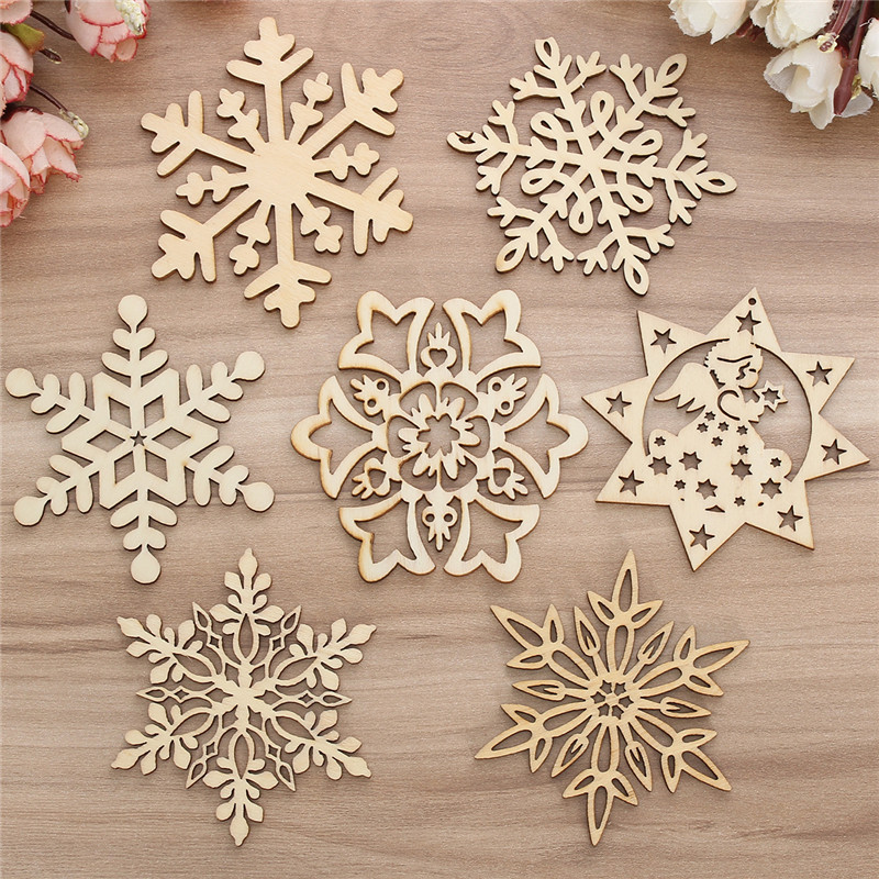 10PCS Wood Snowflake Leaf Shaped Christmas Tree Hanging Ornament Decoration