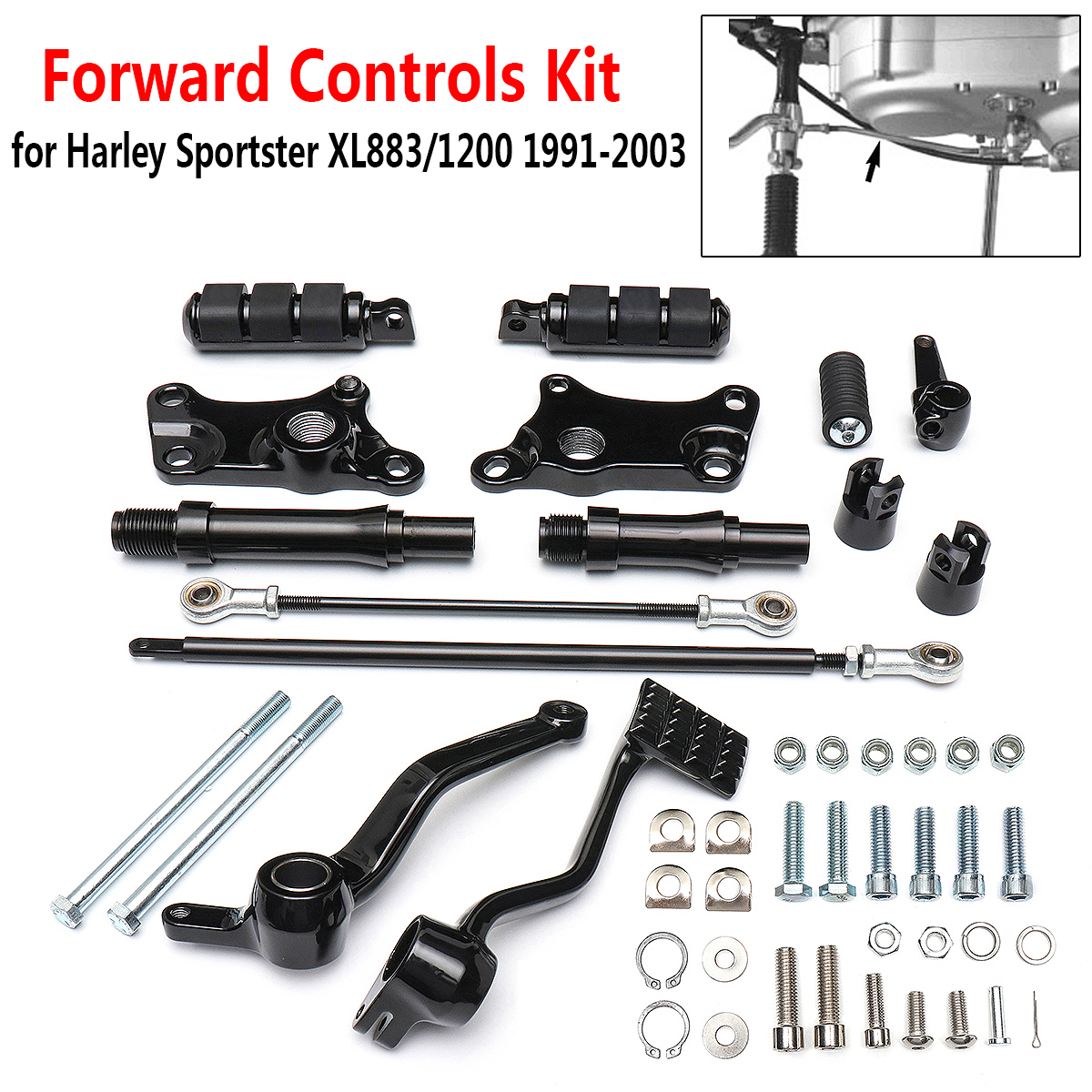 Black Foot Pegs Forward Controls Complete Kit For Harley Sportster XL883 XL1200 1991-2003
