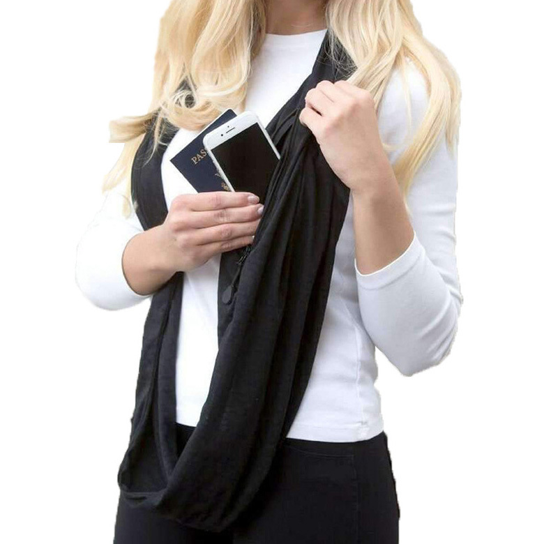 Unisex Winter Multipurpose Vintage Scarf With Zipper Pocket
