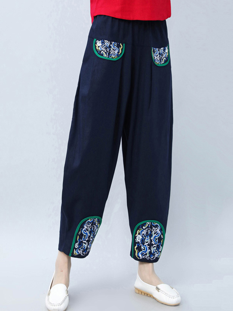 Folk Style Embroidery Pockets Pants for Women